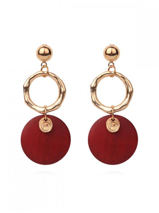fashion Double Round Pendant Earrings - RED