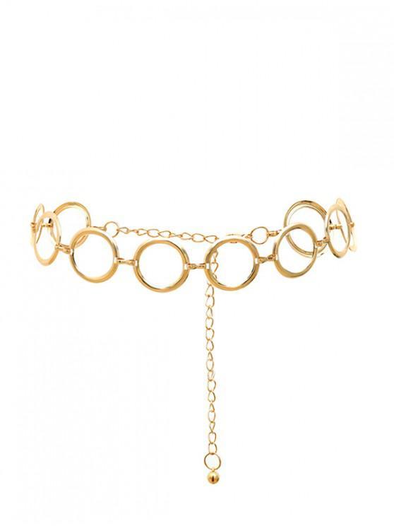 women Round Ring Design Waist Chain - GOLD