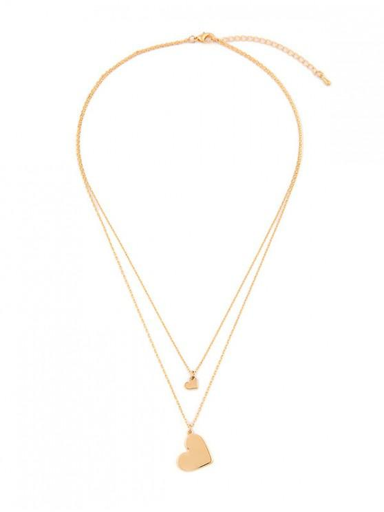 new Double Layer Heart Pendant Necklace - GOLD