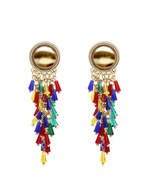 outfits Exaggerated Colorful Tassels Earrings - GOLD