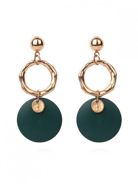 latest Double Round Pendant Earrings - MEDIUM SEA GREEN