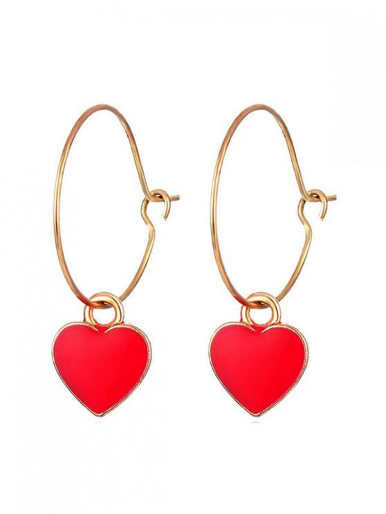 fancy Heart Shape Drop Hoop Earrings - RED