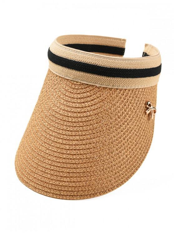 sale Bow Visor Straw Hat - KHAKI