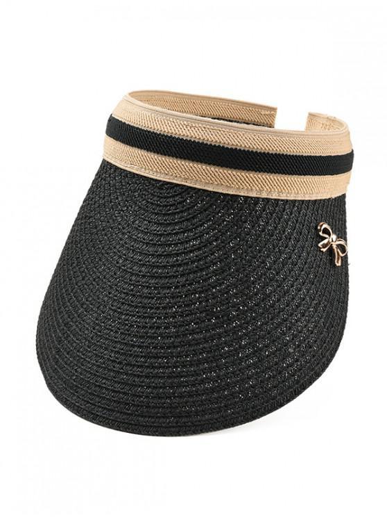 women Bow Visor Straw Hat - BLACK