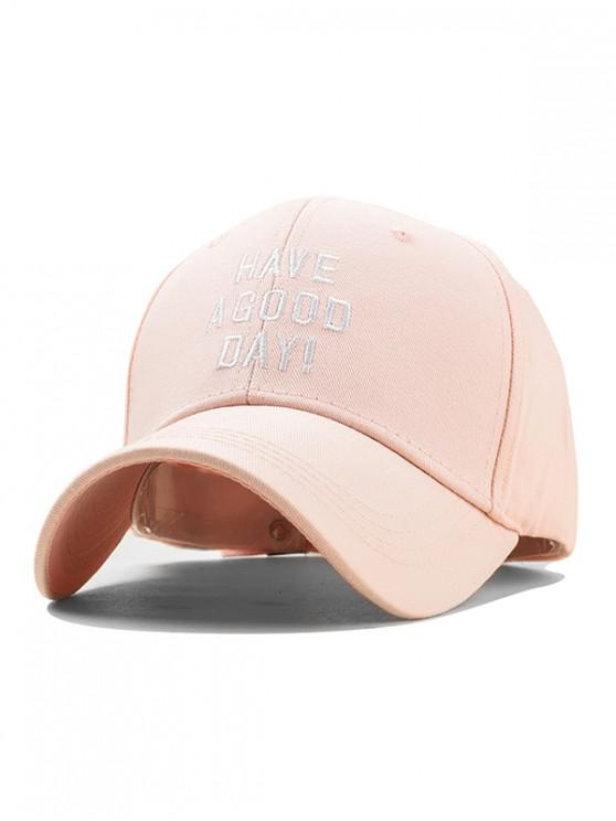 ladies Embroidery Have A Good Day Baseball Cap - PINK