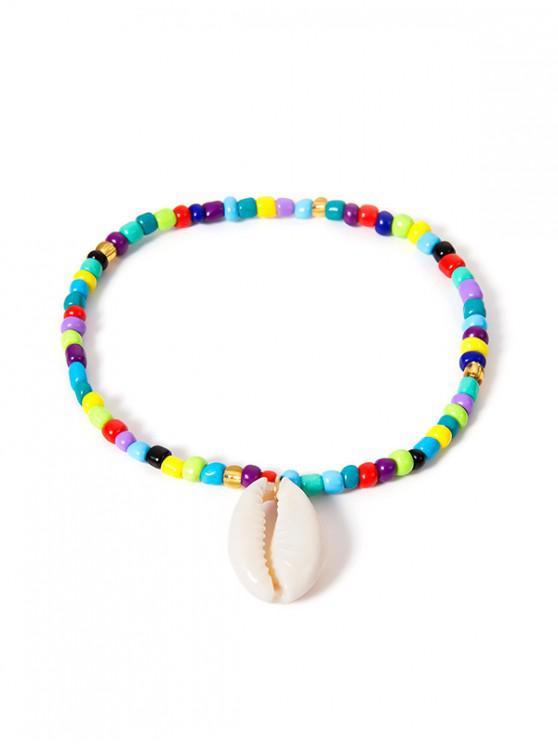fashion Bohemian Shell Beaded Anklet - MULTI