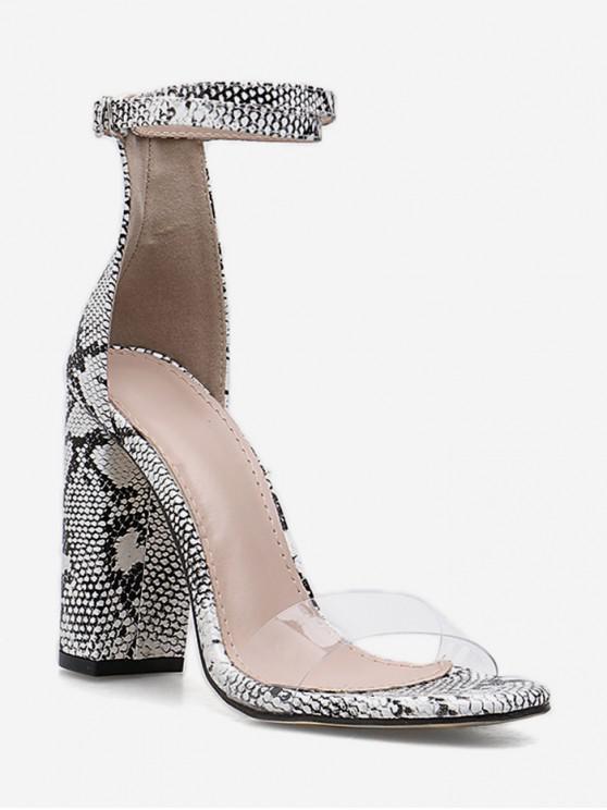 women's Neon Snake Pattern Chunky Heel Sandals - WHITE EU 38