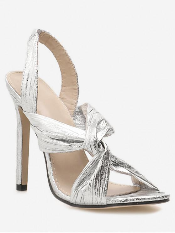 fashion Twist PU Leather Stiletto Heel Sandals - SILVER EU 37