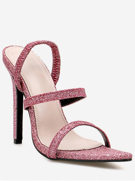 8834e275a58 Stiletto Heel Pointed Toe Glitter Sandals PINK