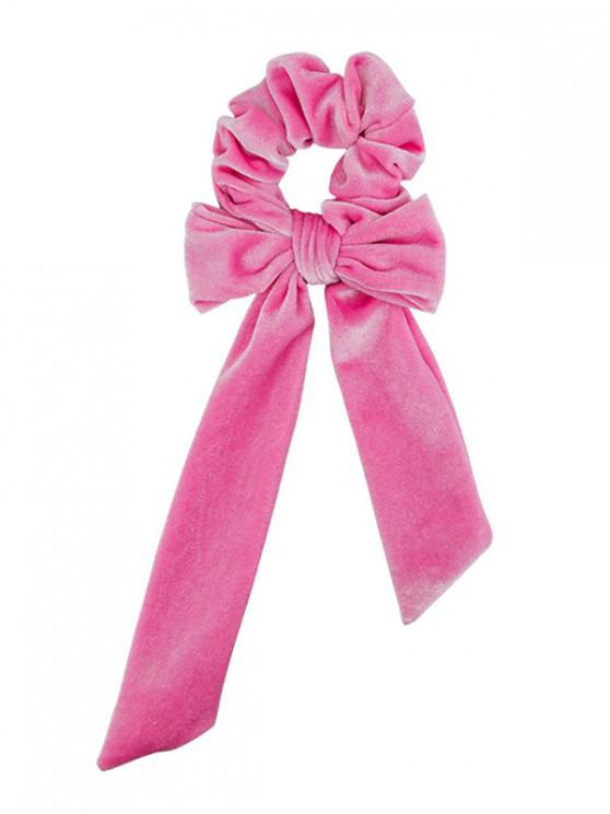 shop Detachable Bowknot Ribbon Velvet Scrunchies - PINK