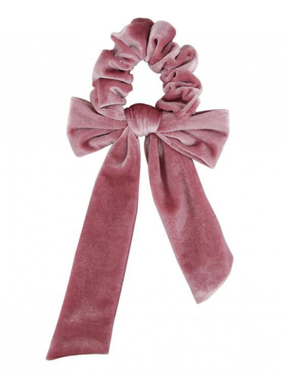 best Detachable Bowknot Ribbon Velvet Scrunchies - LIGHT PINK