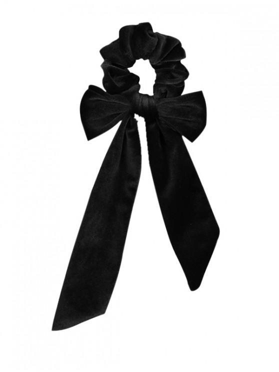best Detachable Bowknot Ribbon Velvet Scrunchies - BLACK