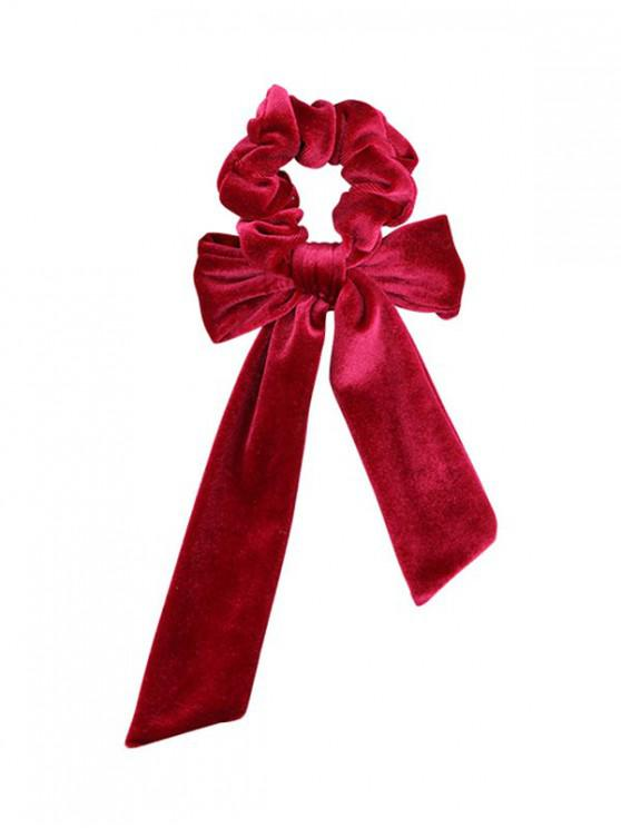 fancy Detachable Bowknot Ribbon Velvet Scrunchies - RED WINE