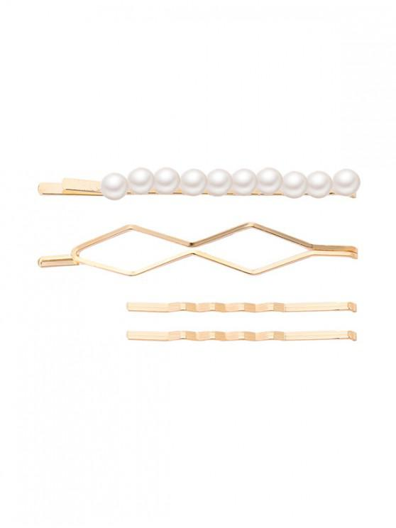 fashion Faux Pearl Geometric Hairpin Set - MULTI-B