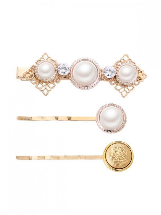 3Pcs Crown Faux Pearl Hair Pin Set - Multi-B