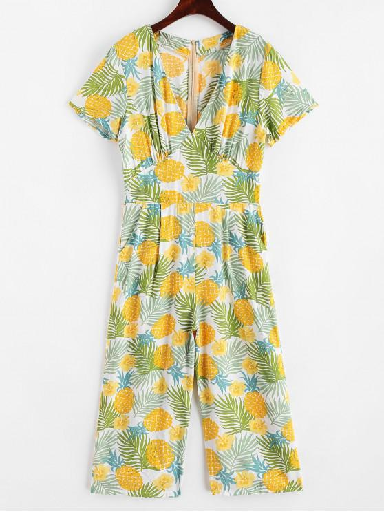 best Floral Leaves Pineapple Wide Leg Jumpsuit - GOLDENROD S