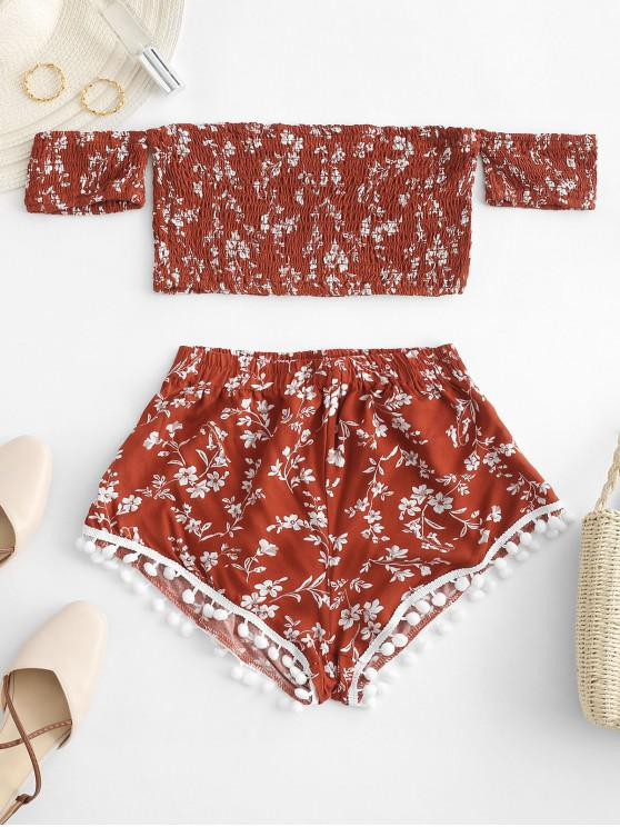 trendy Smocked Floral Print Pompoms Shorts Set - CHESTNUT RED L