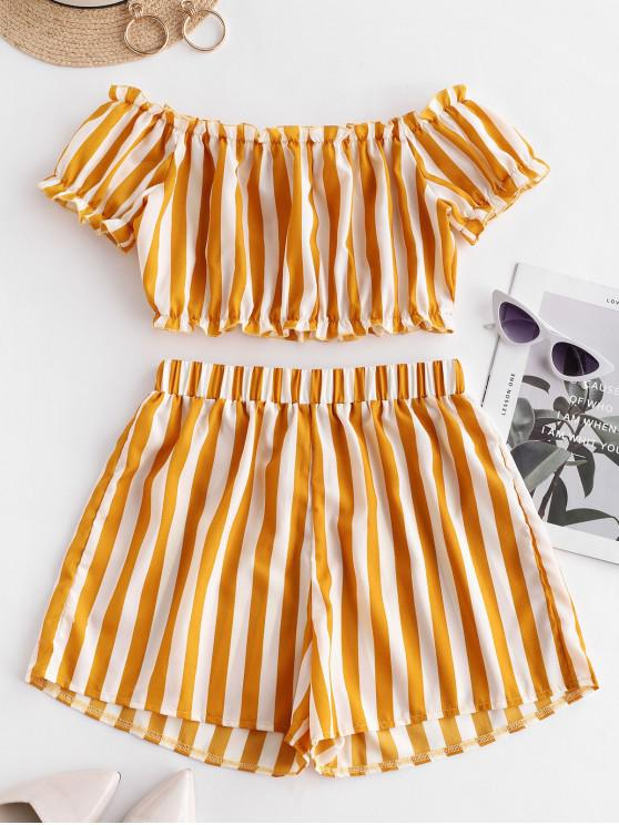 lady ZAFUL Striped Off Shoulder Top And Shorts Set - BEE YELLOW L