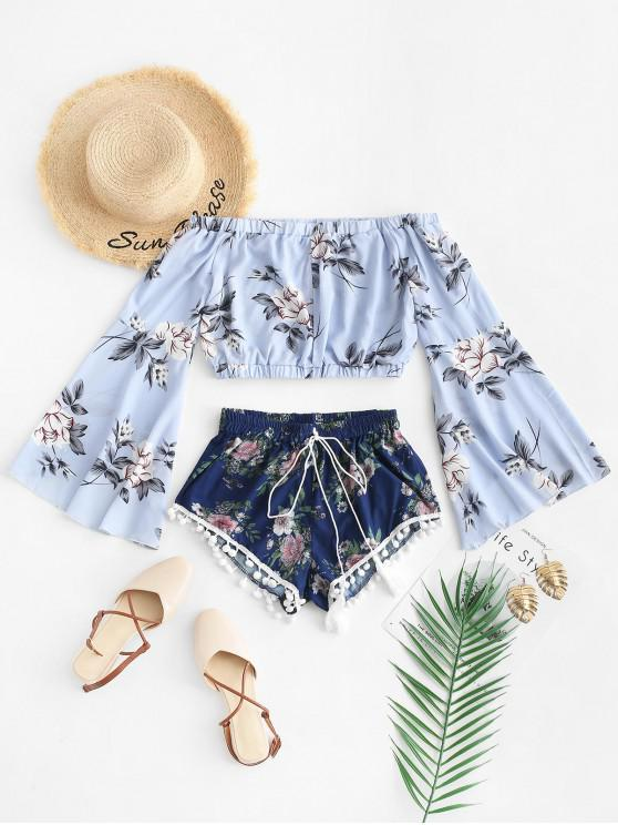 fancy Floral Print Cropped Top and Pompoms Shorts Set - MULTI-A S