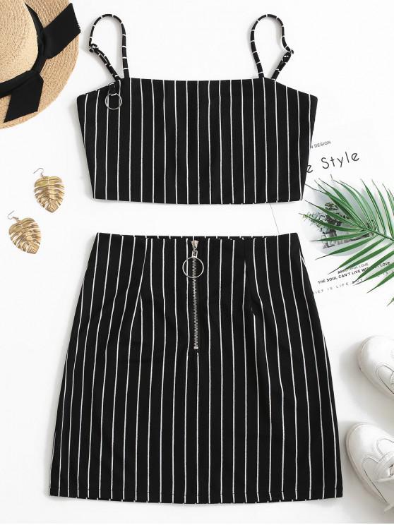 unique Striped Crop Top and Zip Front Skirt Set - BLACK S