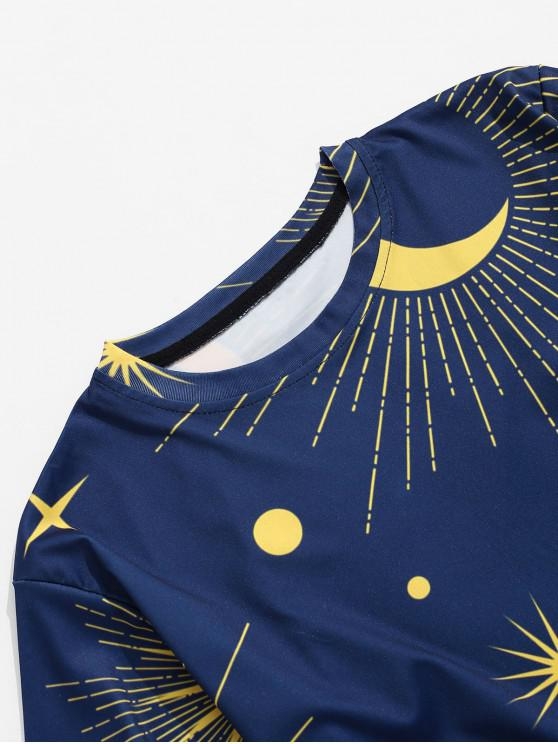 shirt Décontracté Imprimé T MoonBleu Marine S À Sun WE2YD9IeH