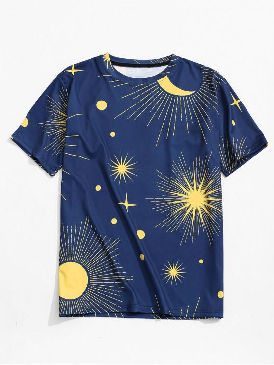 women Sun Moon Print Casual T-shirt - NAVY BLUE 2XL