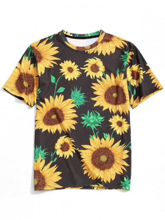 latest Sunflower Print Short Sleeves T-shirt - MULTI L