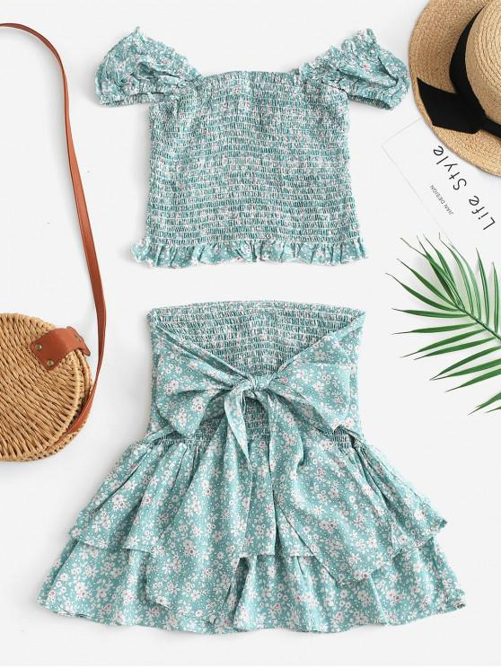 lady Shirred Tiny Floral Two Piece Dress - CYAN OPAQUE L