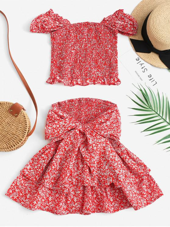 best Shirred Tiny Floral Two Piece Dress - VALENTINE RED S