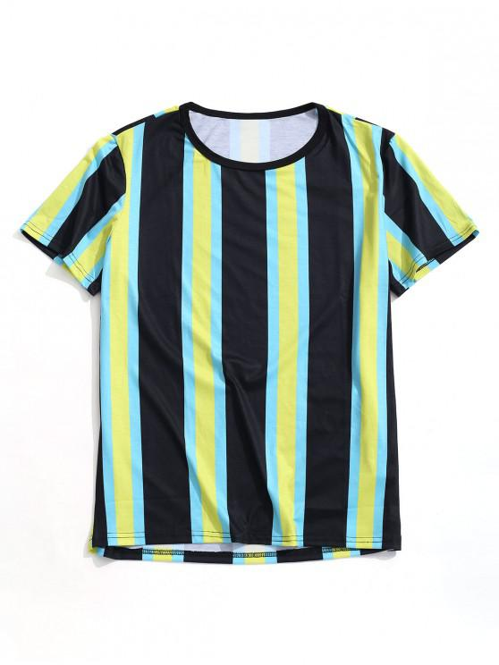 online Vertical Striped Print Casual T-shirt - MULTI M