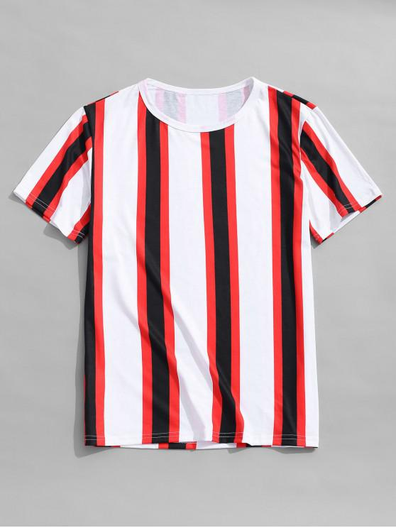 latest Vertical Striped Print Casual T-shirt - MULTI-A XL