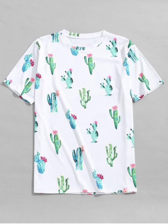 women Cactus Flowers Print Casual T-shirt - WHITE S