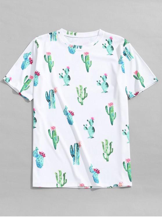 T-Shirt Décontracté à Imprimé Cactus Fleuris - Blanc 2XL