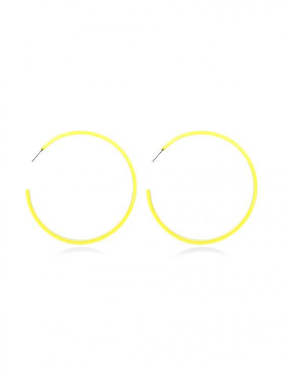unique Big Circle Neon Stud Earrings - YELLOW