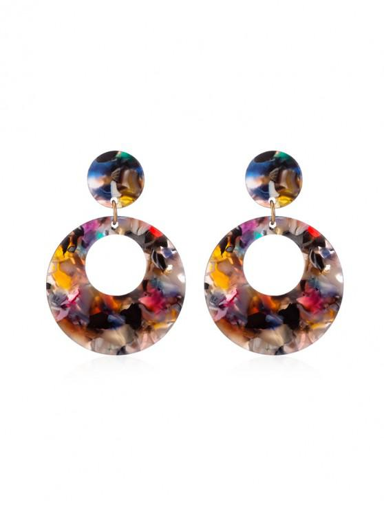 chic Geometric Round Stud Drop Earrings - MULTI-A