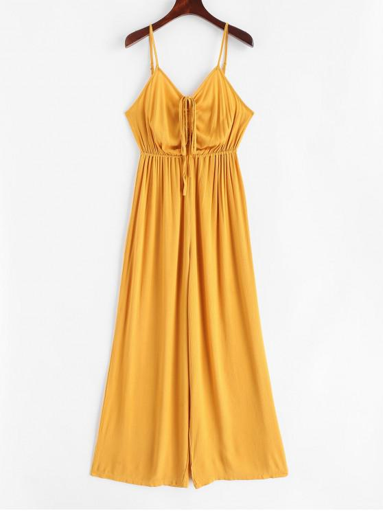 lady Cinched Cami Wide Leg Jumpsuit - GOLDENROD S
