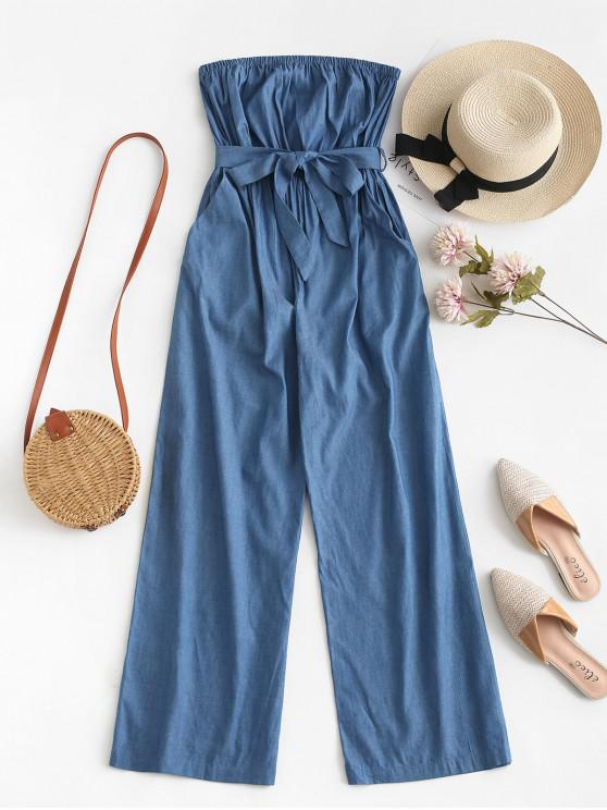 hot ZAFUL Chambray Pocket Bandeau Jumpsuit - DENIM BLUE S