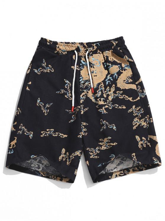 outfit Elastic Painting Print Drawstring Shorts - BLACK 2XL