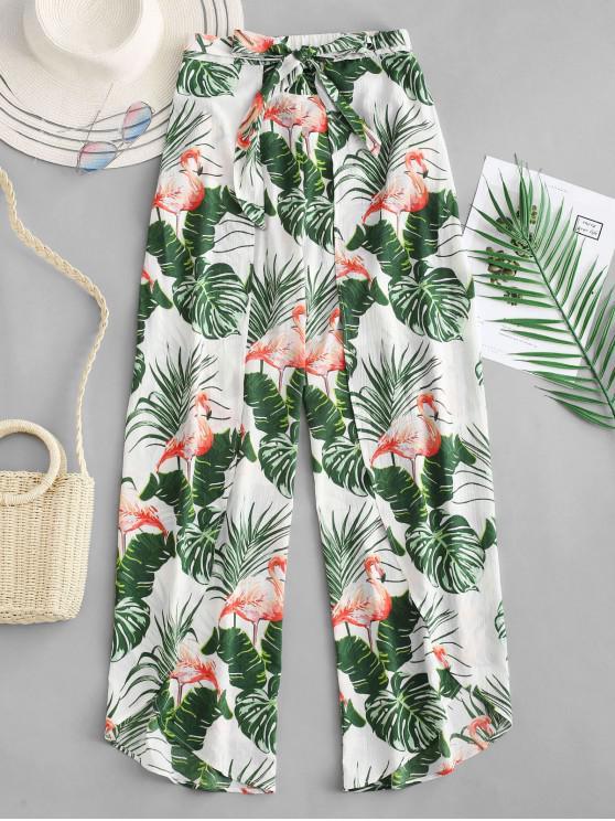 ZAFUL Blattdruck- Flamingo -Weite Hose - Weiß M