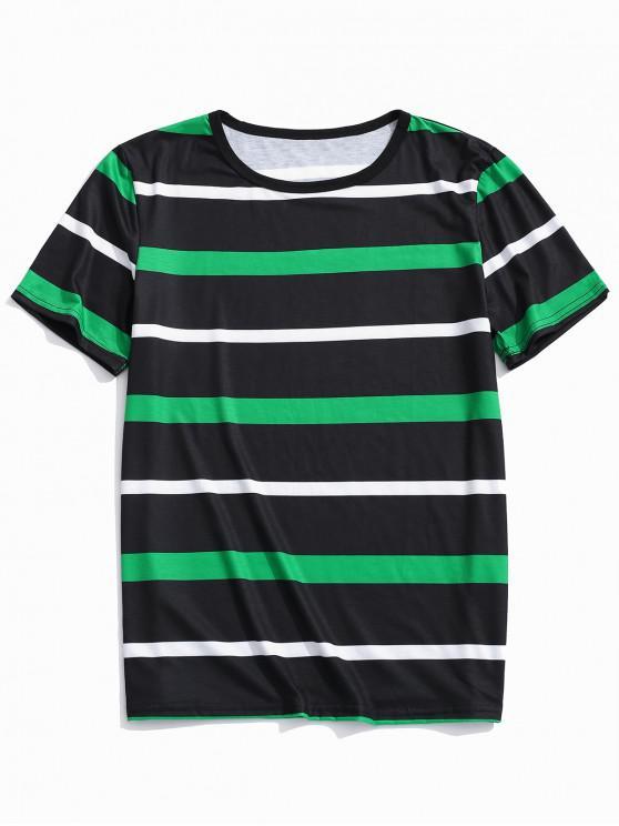 Camiseta Rayas Estampada Casual - Multicolor M