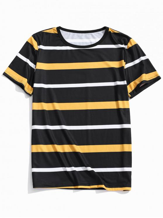 outfit Stripes Print Casual T-shirt - MULTI-A M