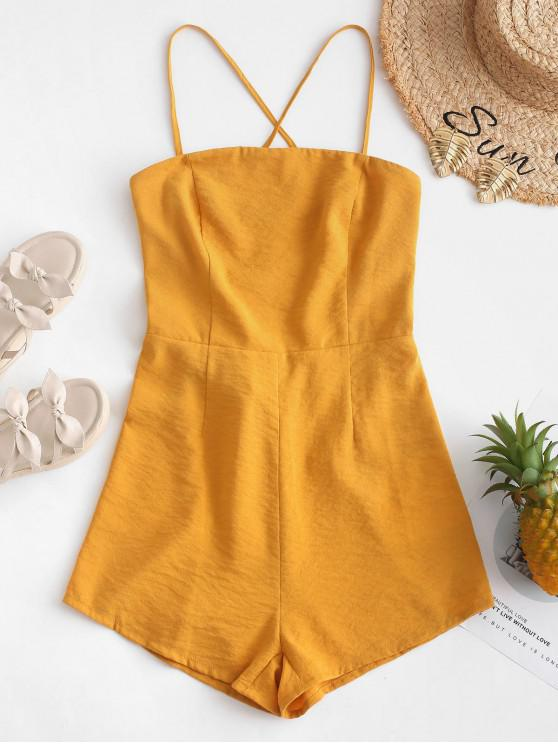 buy ZAFUL Criss Cross Backless Romper - BEE YELLOW M