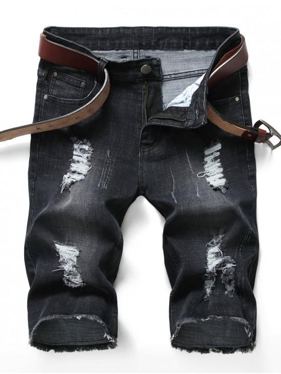 sale Zipper Fly Ripped Jean Shorts - BLACK 42