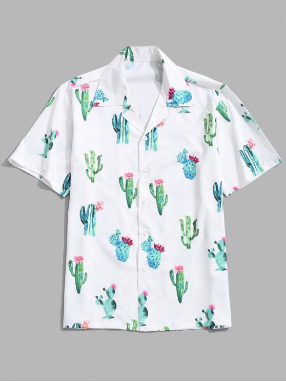latest Short Sleeves Cactus Flower Print Shirt - WHITE 2XL