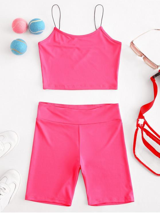 buy Cami High Waisted Skinny Shorts Set - WATERMELON PINK M