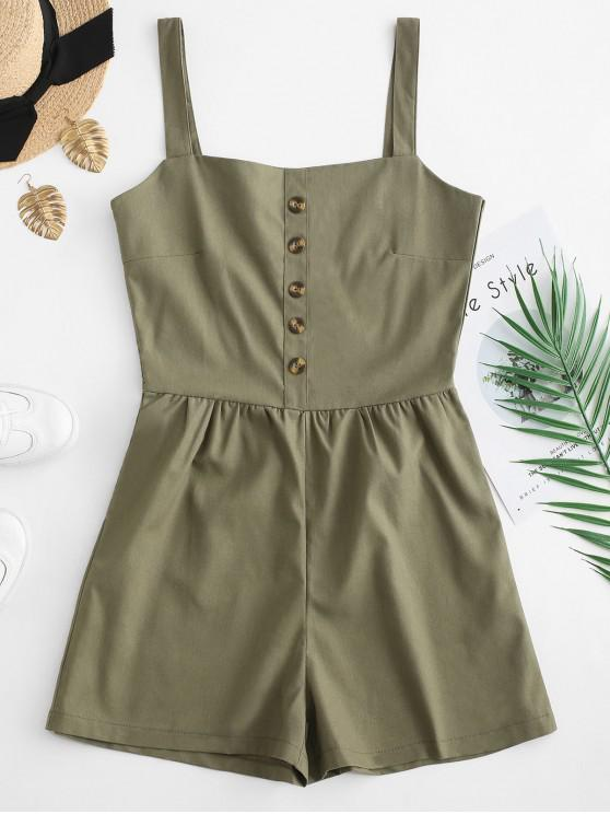 women Wide Straps Button Romper - ARMY GREEN XL
