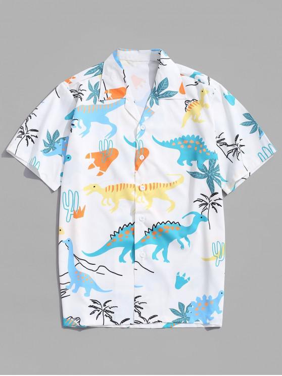 women Animal Dinosaur Print Shirt - WHITE L