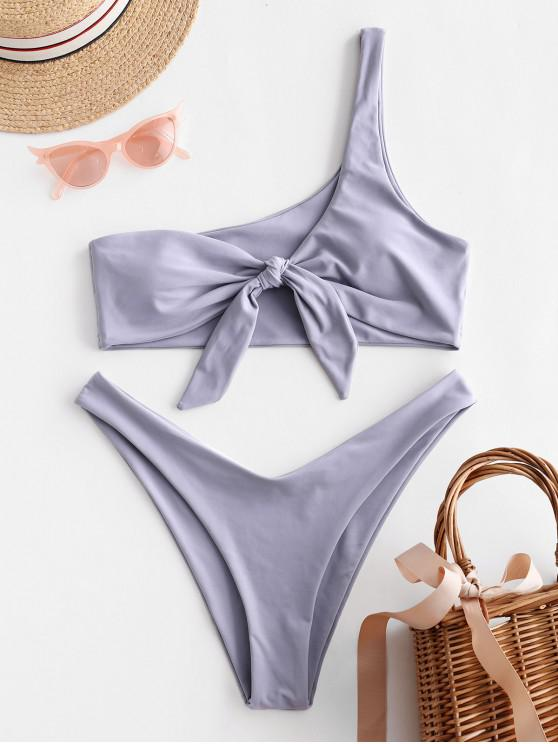 buy ZAFUL Knot One Shoulder Bikini Set - BLUE GRAY M