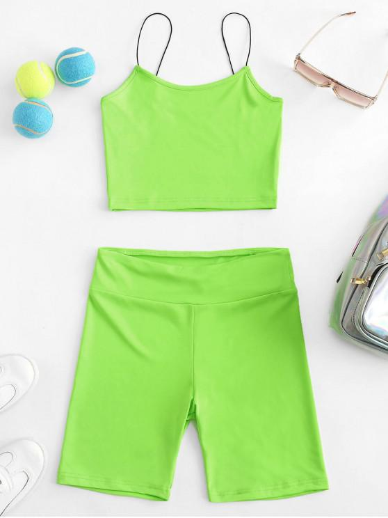 women Cami High Waisted Skinny Shorts Set - CHARTREUSE M