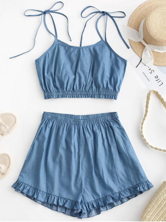 chic ZAFUL Chambray Tie Shoulder Ruffle Shorts Set - DENIM BLUE S